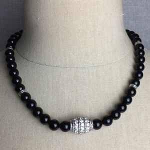 Judith Ripka Onyx, Sterling Silver & CZ Necklace